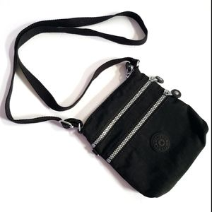 Kipling Keiko black triple zippered crossbody bag